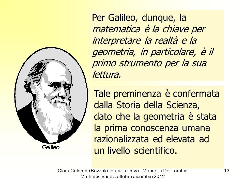 Clara Colombo Bozzolo -Patrizia Dova - Marinella Del Torchio Mathesis Varese ottobre dicembre 2012 13 Per Galileo, dunque, la matematica è la chiave p
