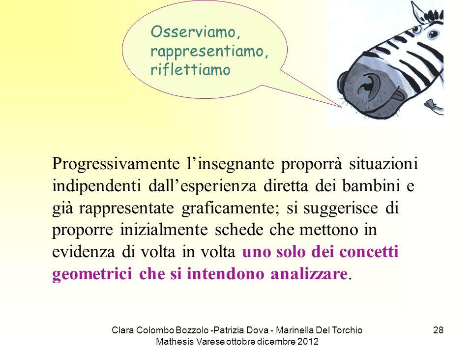 Clara Colombo Bozzolo -Patrizia Dova - Marinella Del Torchio Mathesis Varese ottobre dicembre 2012 28 Osserviamo, rappresentiamo, riflettiamo Progress