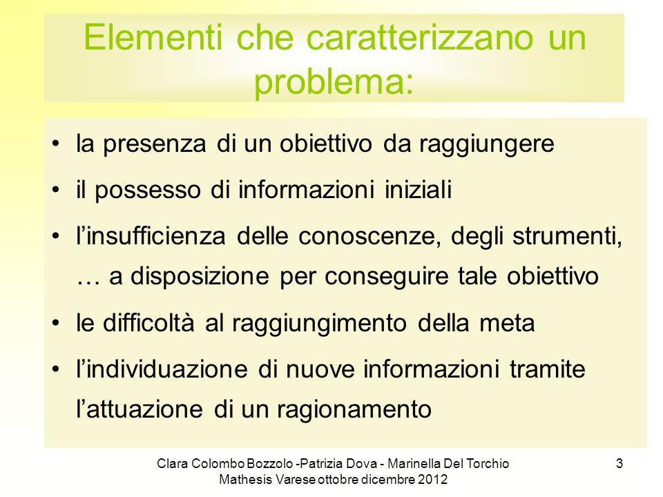 Clara Colombo Bozzolo -Patrizia Dova - Marinella Del Torchio Mathesis Varese ottobre dicembre 2012 3 Elementi che caratterizzano un problema: la prese