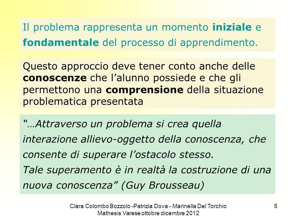 Clara Colombo Bozzolo -Patrizia Dova - Marinella Del Torchio Mathesis Varese ottobre dicembre 2012 5 Il problema rappresenta un momento iniziale e fon