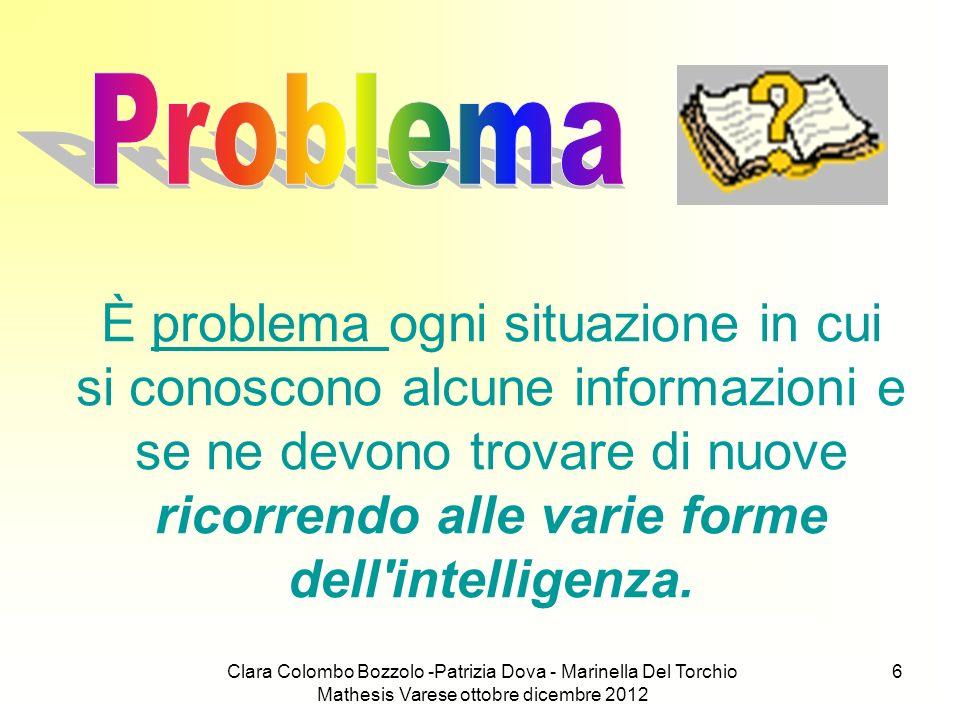 Clara Colombo Bozzolo -Patrizia Dova - Marinella Del Torchio Mathesis Varese ottobre dicembre 2012 6 È problema ogni situazione in cui si conoscono al