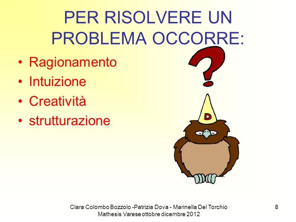 Clara Colombo Bozzolo -Patrizia Dova - Marinella Del Torchio Mathesis Varese ottobre dicembre 2012 8 PER RISOLVERE UN PROBLEMA OCCORRE: Ragionamento I