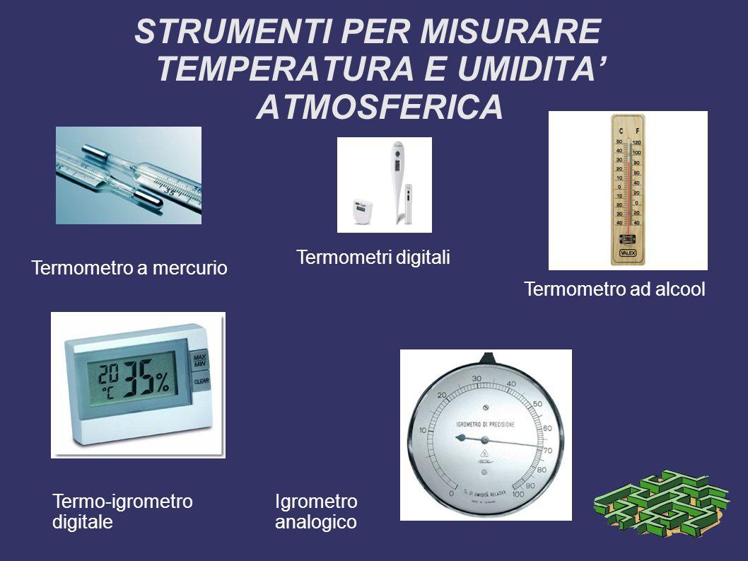 STRUMENTI PER MISURARE TEMPERATURA E UMIDITA ATMOSFERICA Termometro a mercurio Termometri digitali Termometro ad alcool Termo-igrometro digitale Igrom