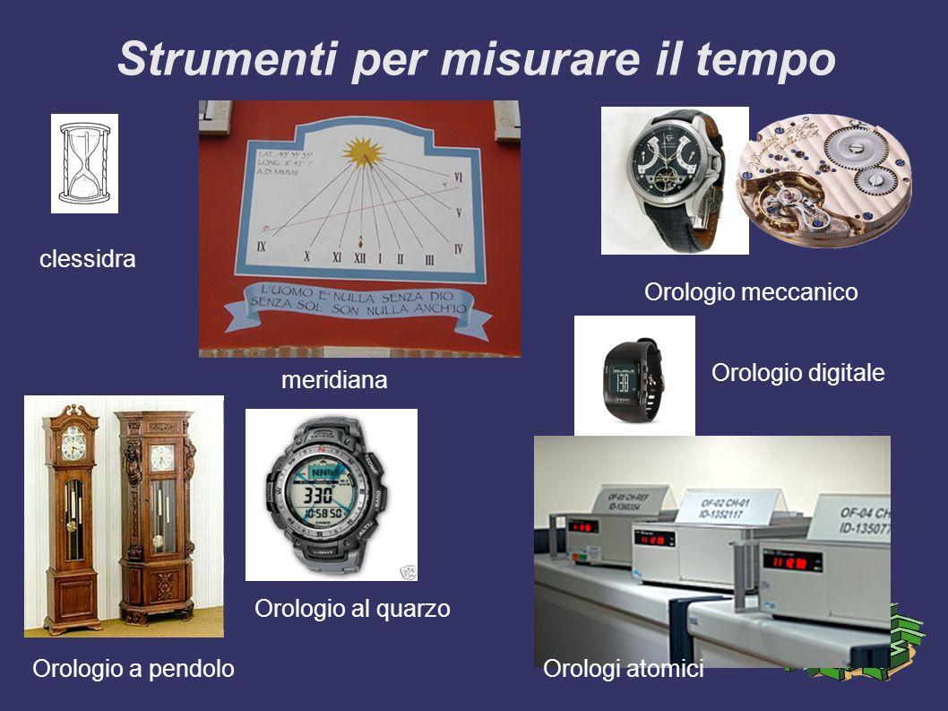 Strumenti per misurare il tempo clessidra meridiana Orologio meccanico Orologio a pendolo Orologio al quarzo Orologio digitale Orologi atomici