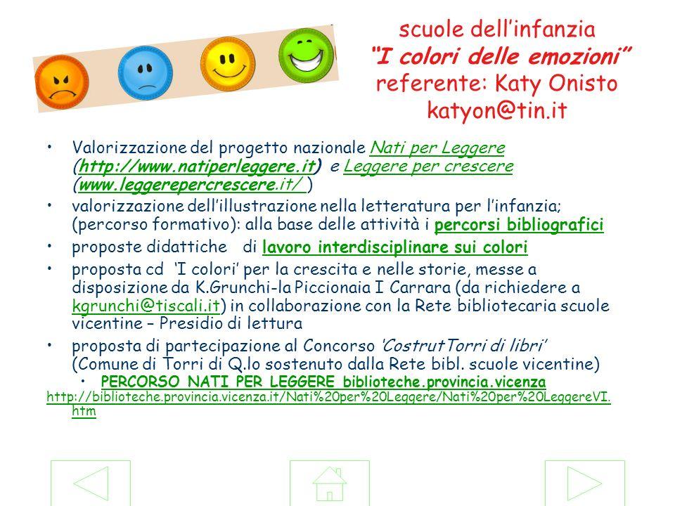 scuole dellinfanzia I colori delle emozioni referente: Katy Onisto katyon@tin.it Valorizzazione del progetto nazionale Nati per Leggere (http://www.na