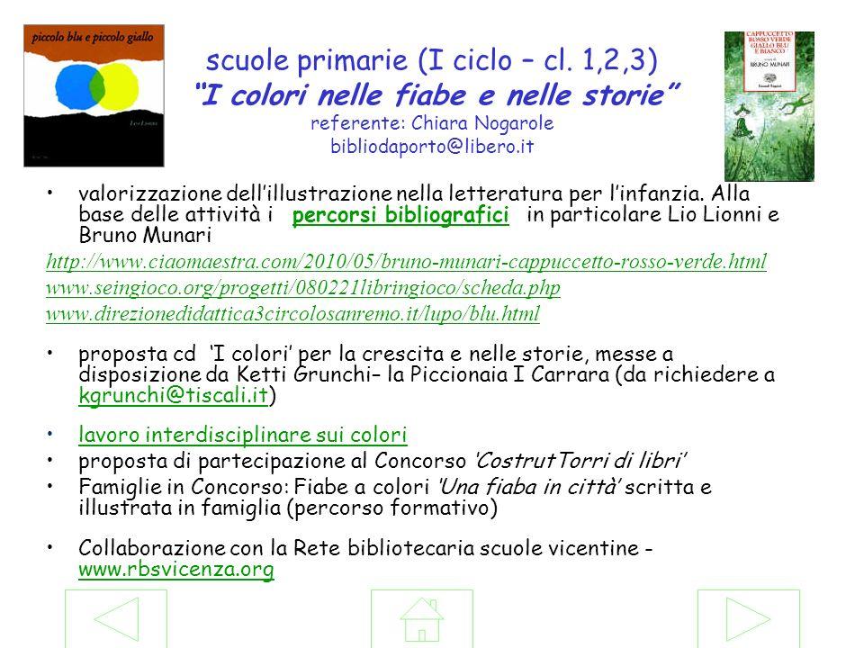 scuole primarie (I ciclo – cl. 1,2,3) I colori nelle fiabe e nelle storie referente: Chiara Nogarole bibliodaporto@libero.it valorizzazione dellillust