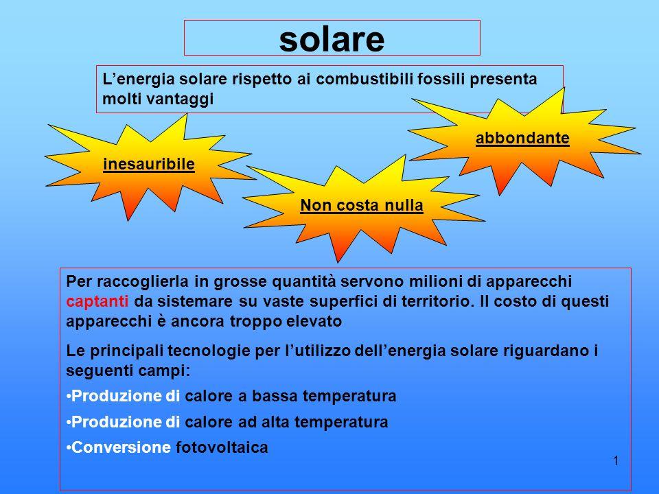 2 PRODUZIONE DI CALORE A BASSA TEMPERATURA E il settore più collaudato, vengono utilizzati pannelli solari piani, con essi si produce acqua calda e riscaldamento.