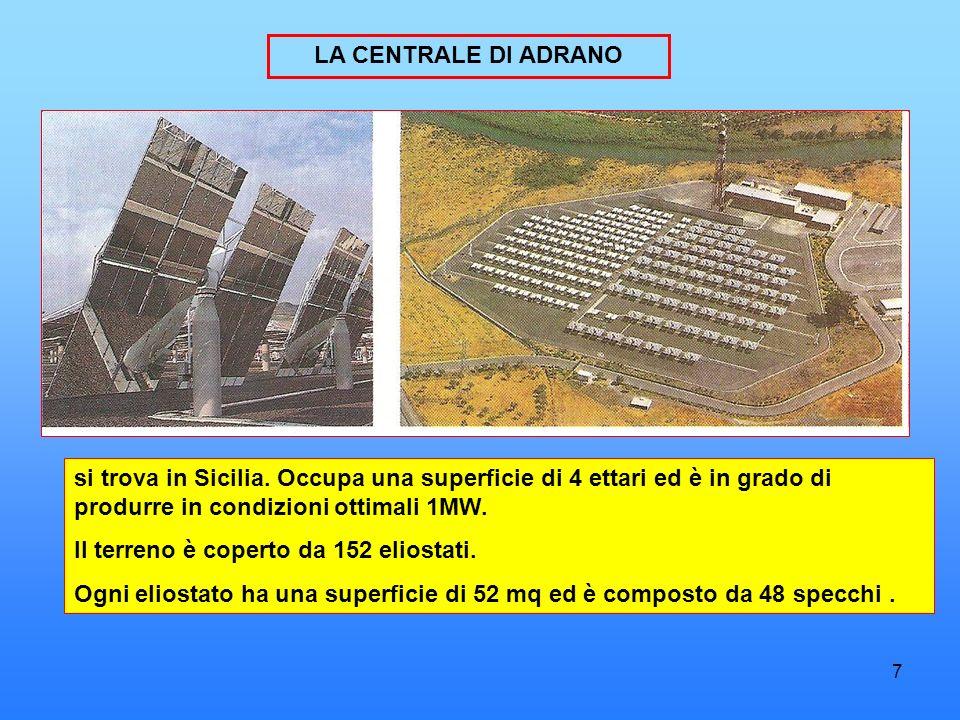 7 LA CENTRALE DI ADRANO si trova in Sicilia. Occupa una superficie di 4 ettari ed è in grado di produrre in condizioni ottimali 1MW. Il terreno è cope