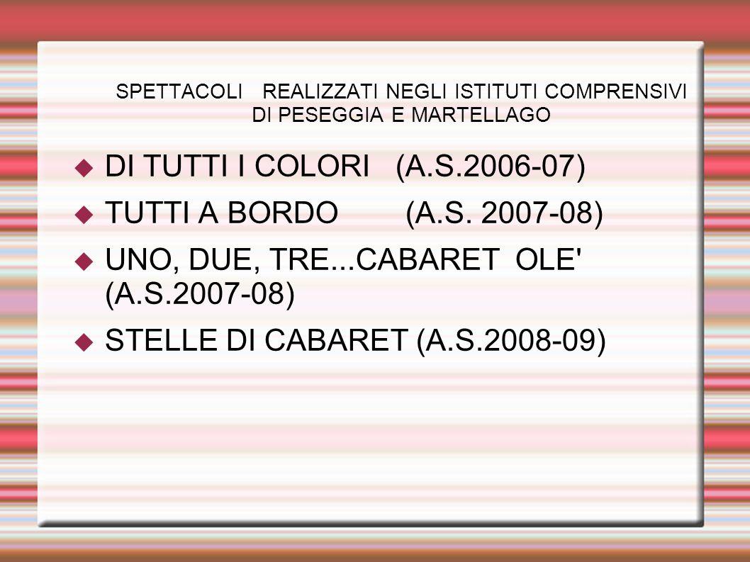 SPETTACOLI REALIZZATI NEGLI ISTITUTI COMPRENSIVI DI PESEGGIA E MARTELLAGO DI TUTTI I COLORI (A.S.2006-07) TUTTI A BORDO (A.S. 2007-08) UNO, DUE, TRE..