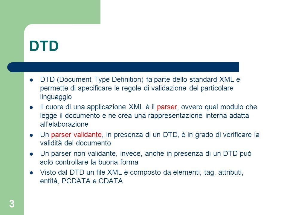 4 Nel caso del DTD il validatore è identificato come applicazione DOCTYPE Il tag contiene il riferimento al DTD, che può essere sia esterno che interno al file XML.