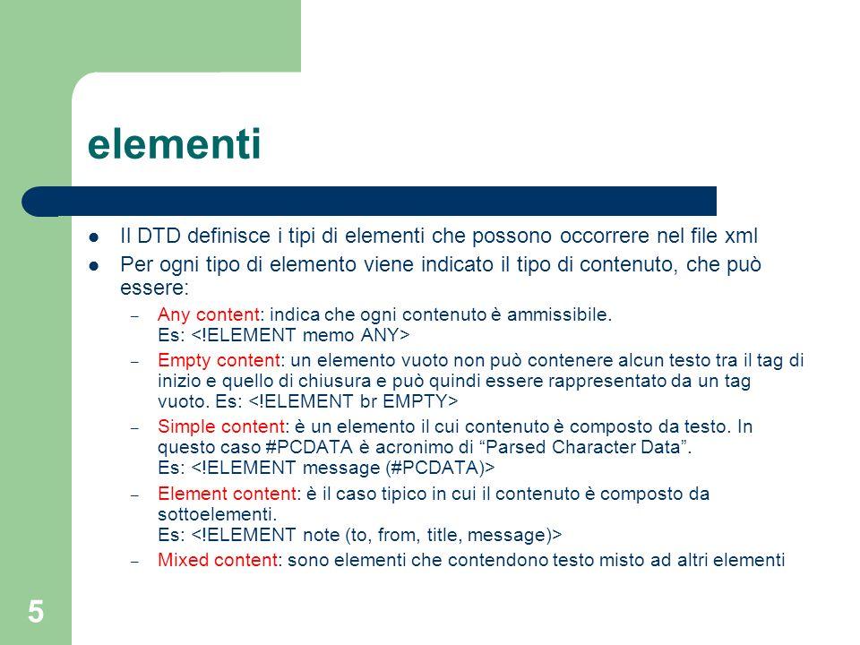 6 element content - sequenza Un elemento composto da una sequenza deve contenere una lista dei sottoelementi elencati, con un elemento per ogni tipo e nello stesso ordine I singoli sottoelementi sono divisi da virgole DTDXML valido