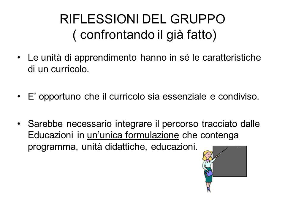 RIFLESSIONI DEL GRUPPO ( confrontando il già fatto) Le unità di apprendimento hanno in sé le caratteristiche di un curricolo. E opportuno che il curri
