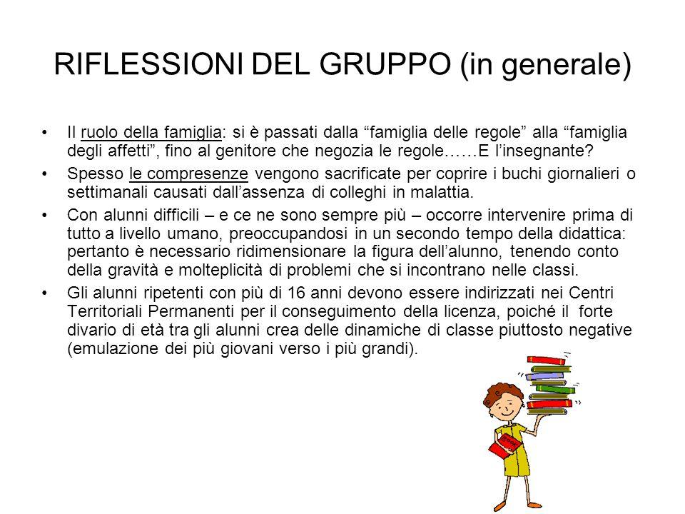 RIFLESSIONI DEL GRUPPO (in generale) Il ruolo della famiglia: si è passati dalla famiglia delle regole alla famiglia degli affetti, fino al genitore c