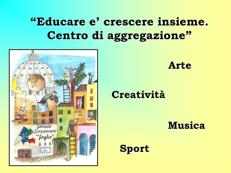 Educare e crescere insieme. Centro di aggregazione Arte Creatività Creatività Musica Musica Sport Sport