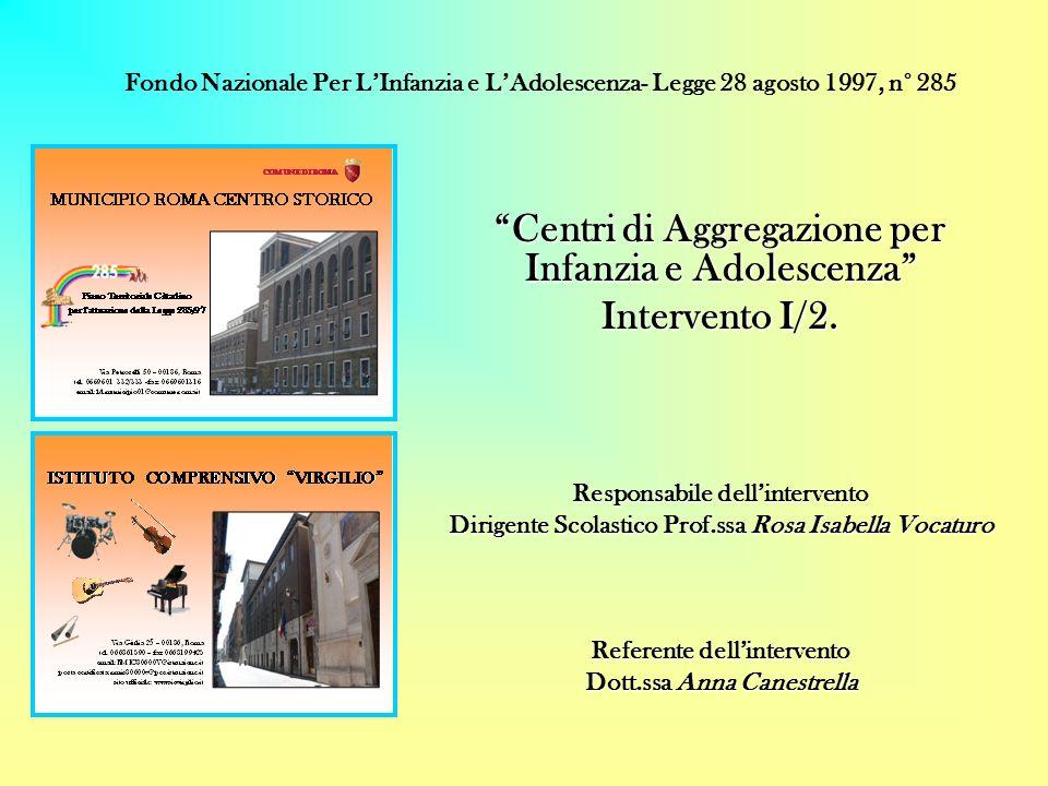 Centri di Aggregazione per Infanzia e Adolescenza Intervento I/2. Responsabile dellintervento Dirigente Scolastico Prof.ssa Rosa Isabella Vocaturo Ref