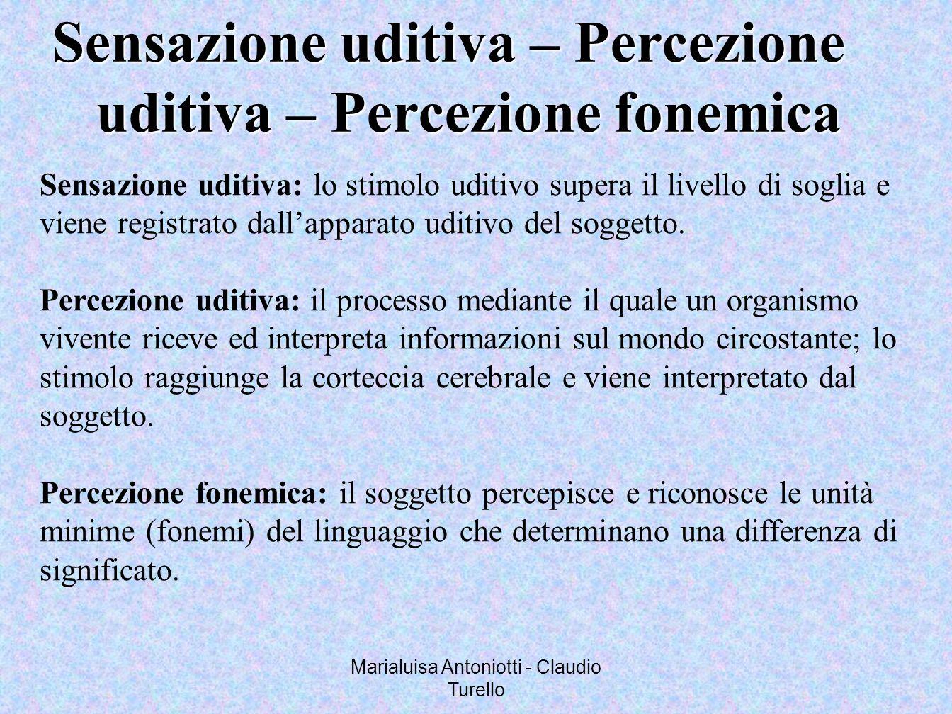 Marialuisa Antoniotti - Claudio Turello Sensazione uditiva – Percezione uditiva – Percezione fonemica uditiva – Percezione fonemica Sensazione uditiva