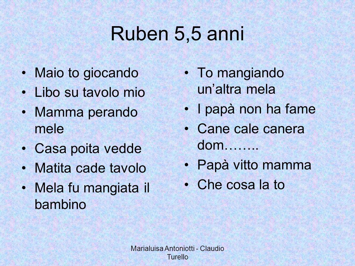 Marialuisa Antoniotti - Claudio Turello Ruben 5,5 anni Maio to giocando Libo su tavolo mio Mamma perando mele Casa poita vedde Matita cade tavolo Mela