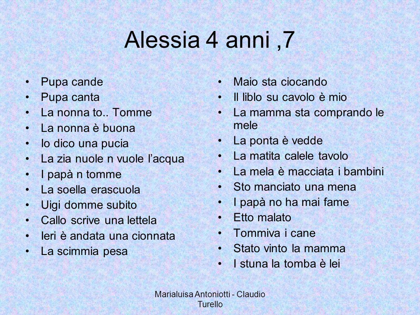 Marialuisa Antoniotti - Claudio Turello Alessia 4 anni,7 Pupa cande Pupa canta La nonna to.. Tomme La nonna è buona Io dico una pucia La zia nuole n v