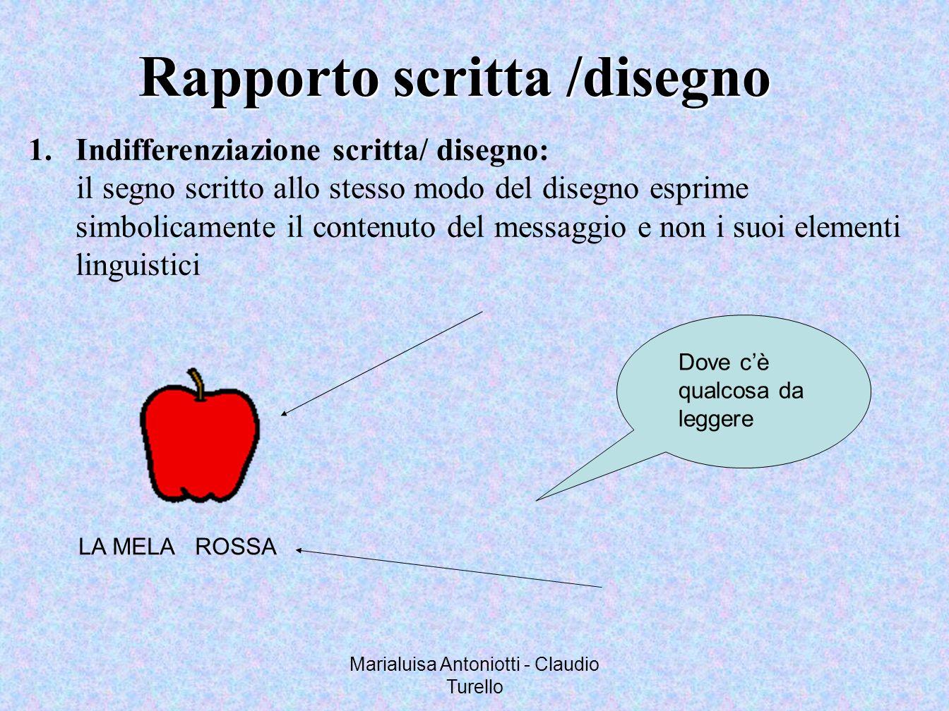 Marialuisa Antoniotti - Claudio Turello Rapporto scritta /disegno 1.Indifferenziazione scritta/ disegno: il segno scritto allo stesso modo del disegno