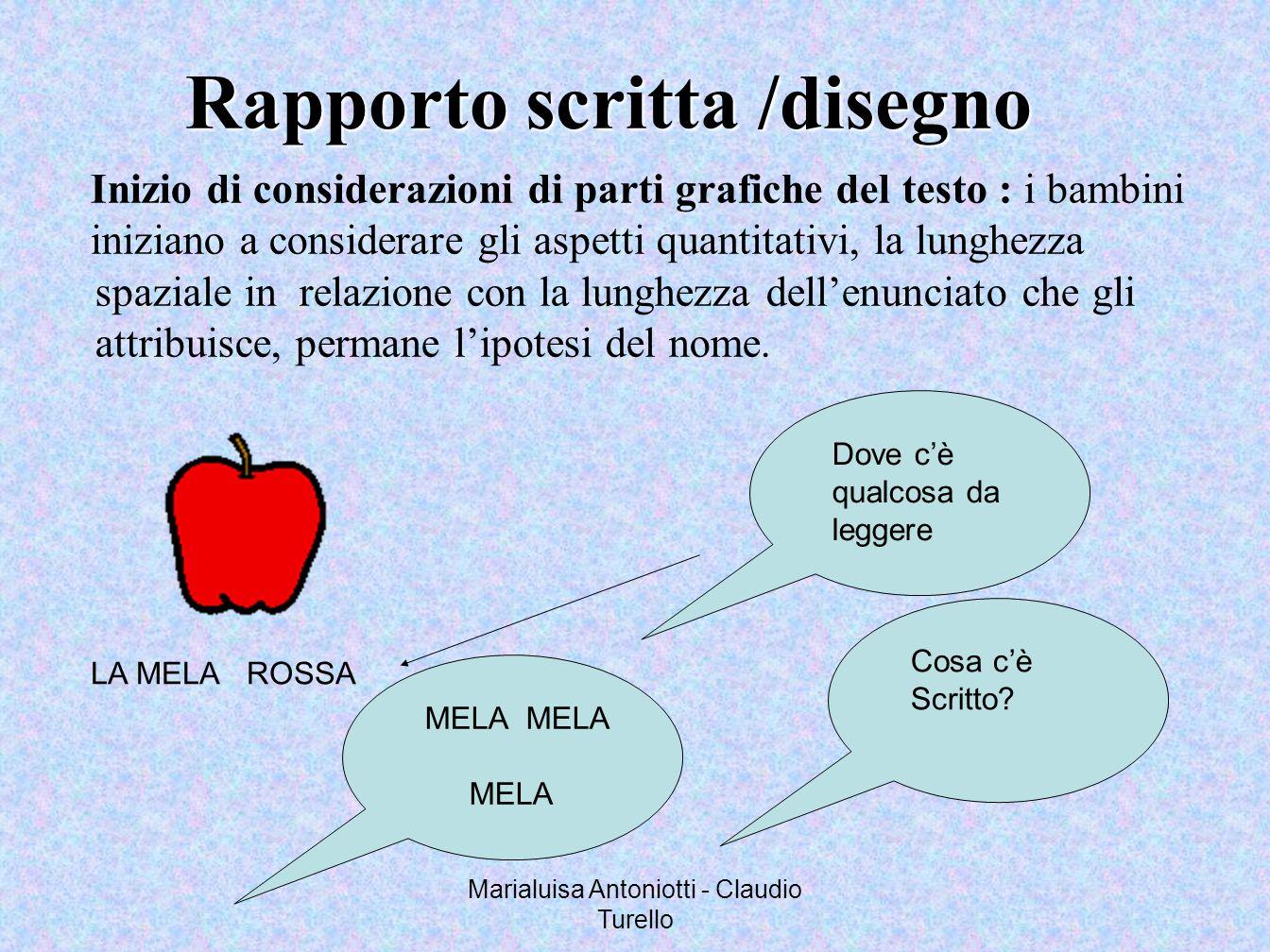 Marialuisa Antoniotti - Claudio Turello Inizio di considerazioni di parti grafiche del testo : i bambini iniziano a considerare gli aspetti quantitati