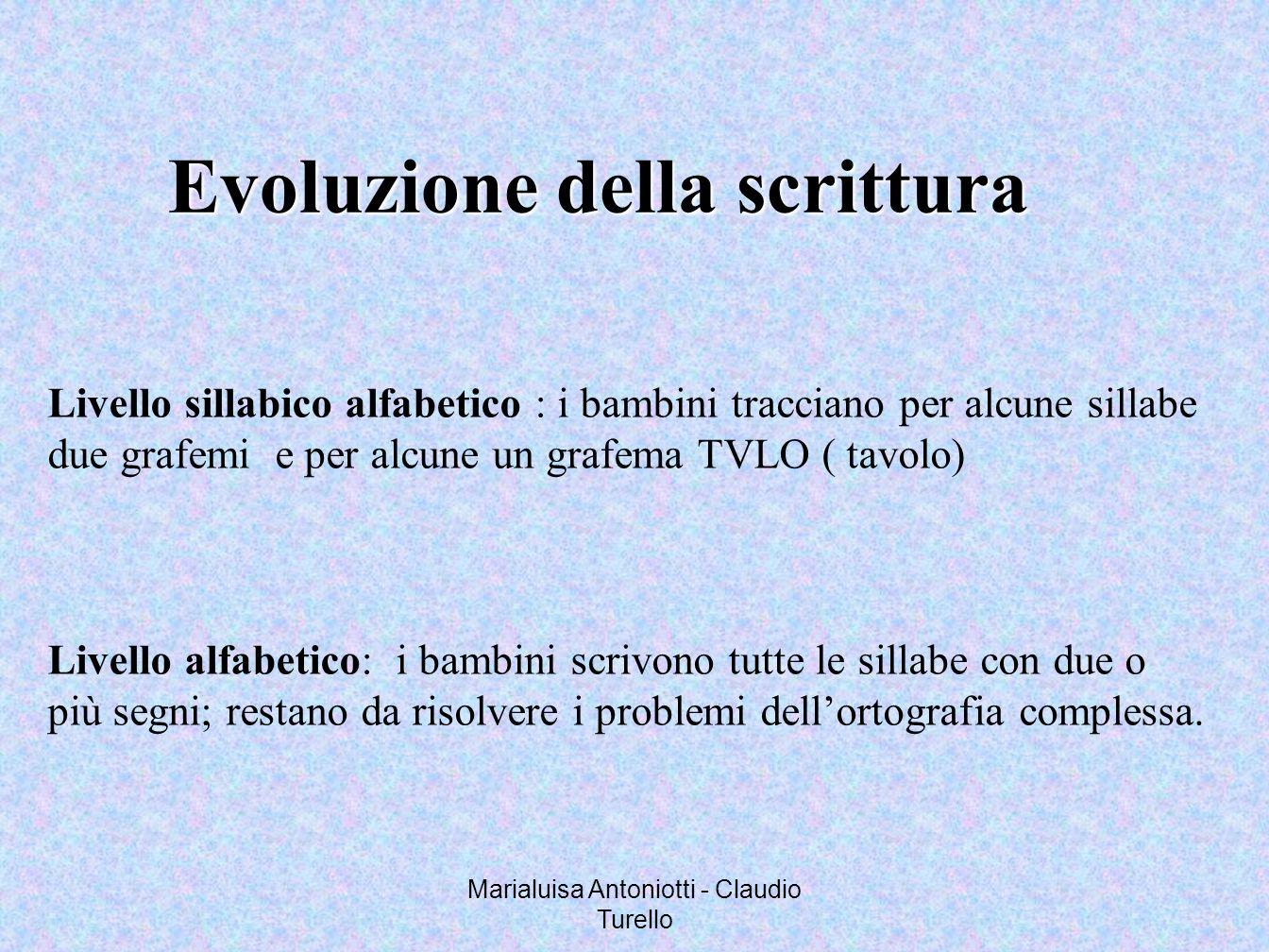 Marialuisa Antoniotti - Claudio Turello Evoluzione della scrittura Livello sillabico alfabetico : i bambini tracciano per alcune sillabe due grafemi e
