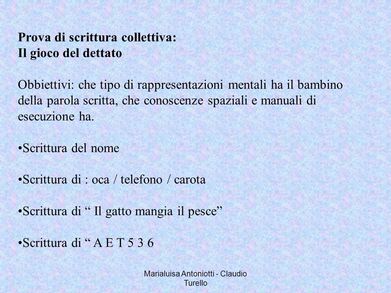 Marialuisa Antoniotti - Claudio Turello Prova di scrittura collettiva: Il gioco del dettato Obbiettivi: che tipo di rappresentazioni mentali ha il bam
