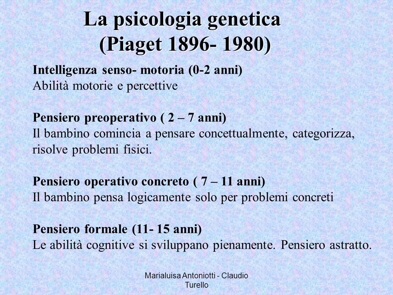 Marialuisa Antoniotti - Claudio Turello La psicologia genetica (Piaget 1896- 1980) (Piaget 1896- 1980) Intelligenza senso- motoria (0-2 anni) Abilità