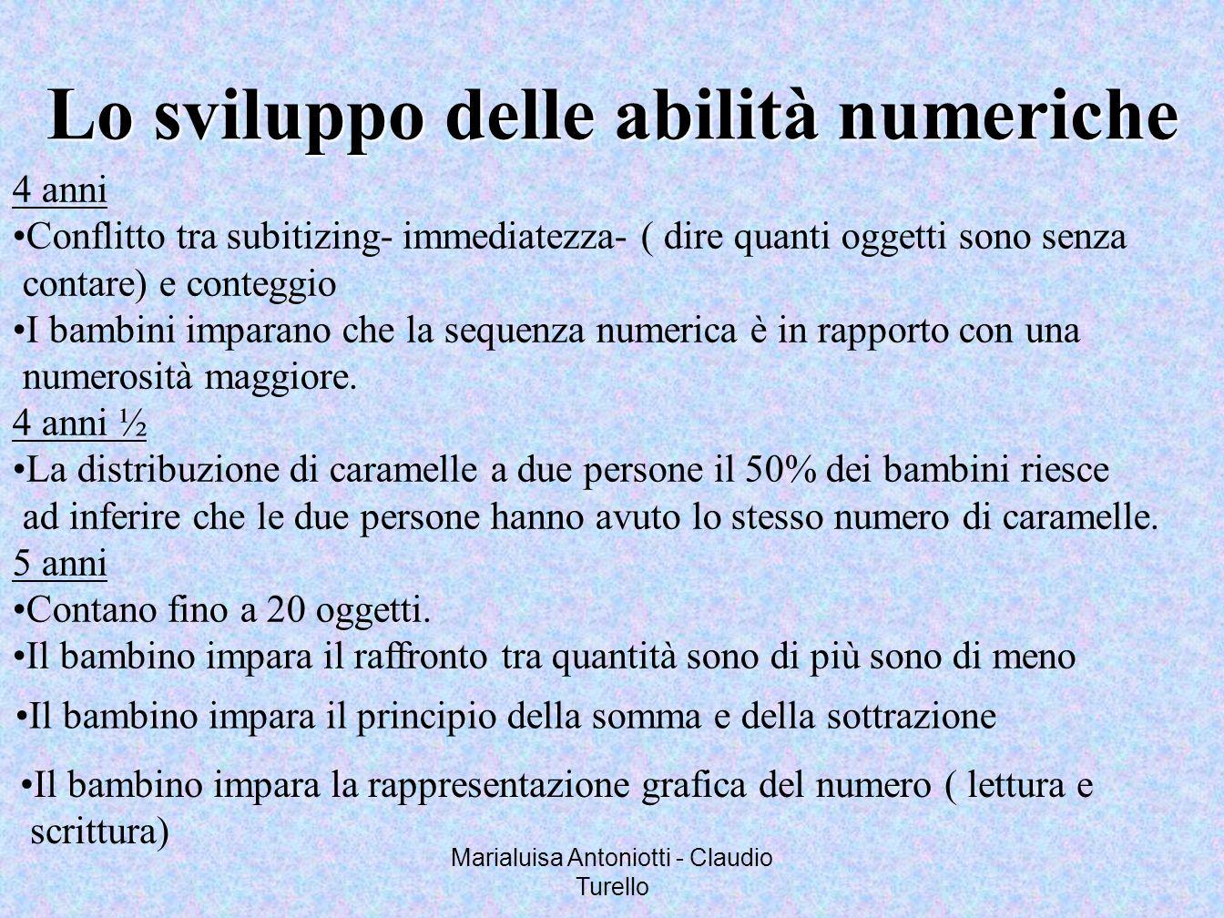 Marialuisa Antoniotti - Claudio Turello Lo sviluppo delle abilità numeriche 4 anni Conflitto tra subitizing- immediatezza- ( dire quanti oggetti sono