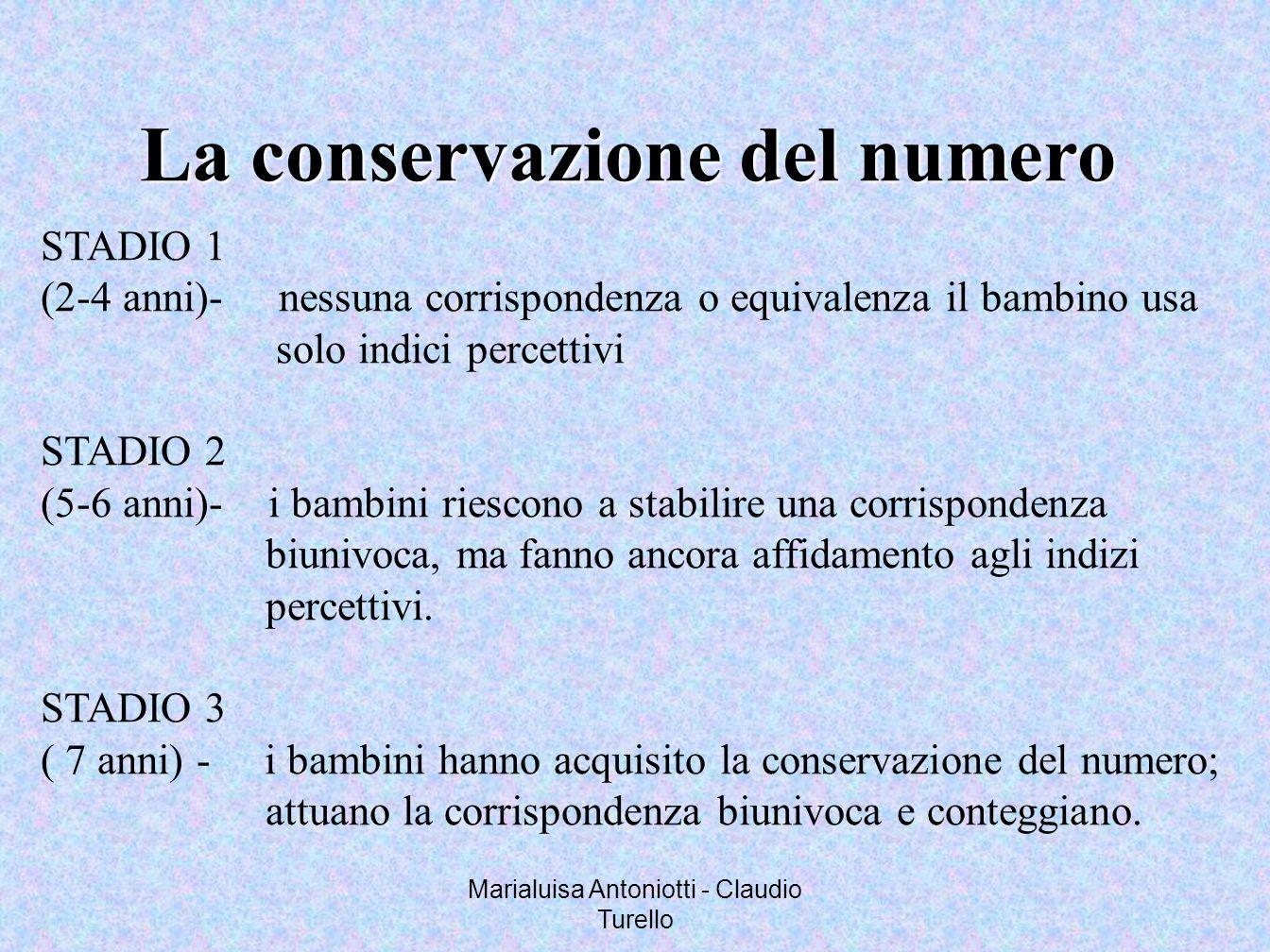 Marialuisa Antoniotti - Claudio Turello La conservazione del numero STADIO 1 (2-4 anni)- nessuna corrispondenza o equivalenza il bambino usa solo indi