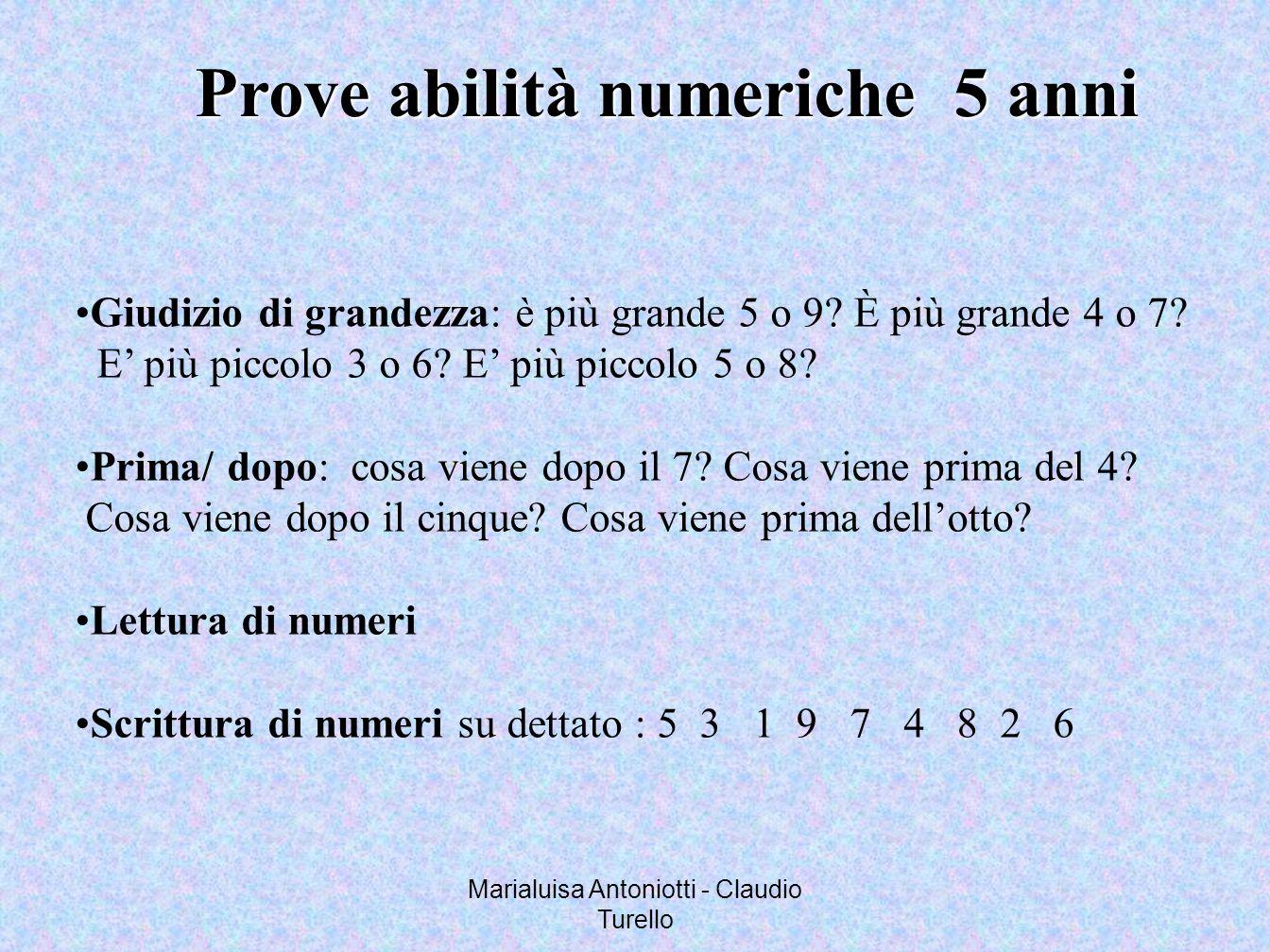 Marialuisa Antoniotti - Claudio Turello Prove abilità numeriche 5 anni Giudizio di grandezza: è più grande 5 o 9? È più grande 4 o 7? E più piccolo 3