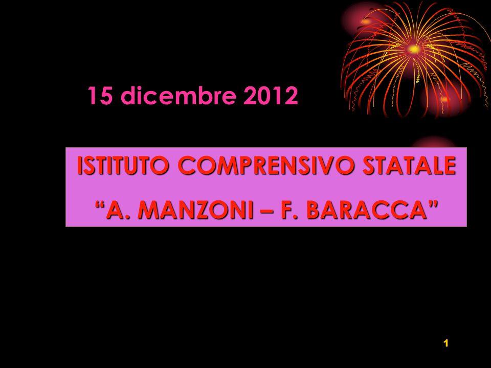 1 ISTITUTO COMPRENSIVO STATALE A. MANZONI – F. BARACCA 15 dicembre 2012