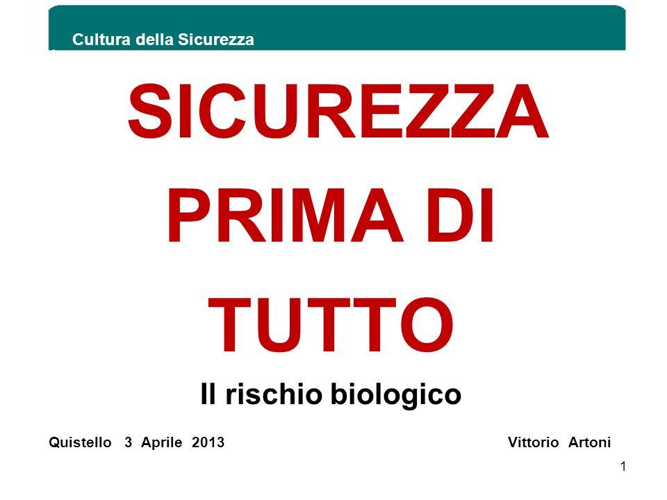 SICUREZZA PRIMA DI TUTTO Il rischio biologico Quistello 3 Aprile 2013 Vittorio Artoni Cultura della Sicurezza 1