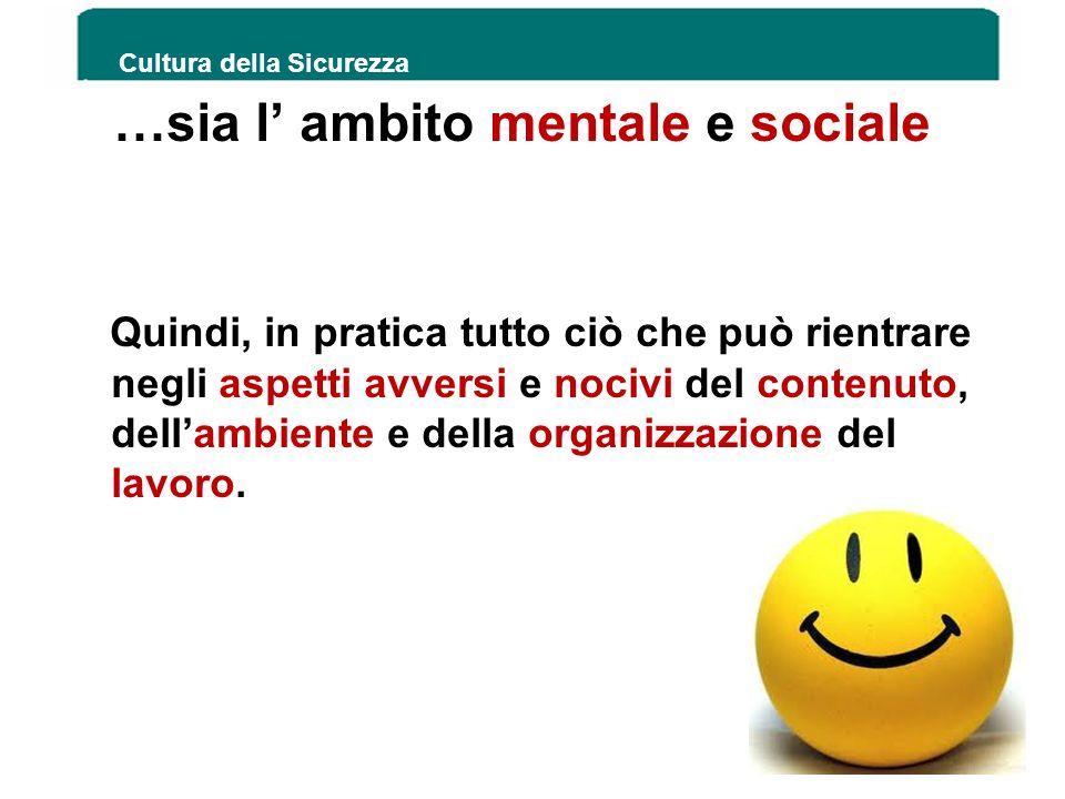 …sia l ambito mentale e sociale Quindi, in pratica tutto ciò che può rientrare negli aspetti avversi e nocivi del contenuto, dellambiente e della orga