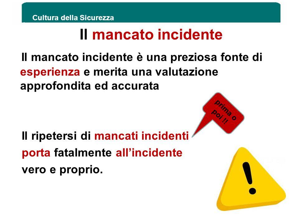 Il mancato incidente Il mancato incidente è una preziosa fonte di esperienza e merita una valutazione approfondita ed accurata Il ripetersi di mancati