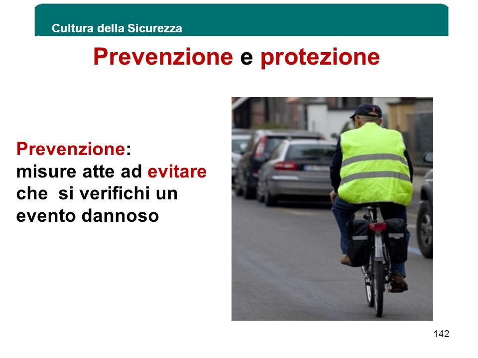 Prevenzione e protezione Prevenzione: misure atte ad evitare che si verifichi un evento dannoso Cultura della Sicurezza 142
