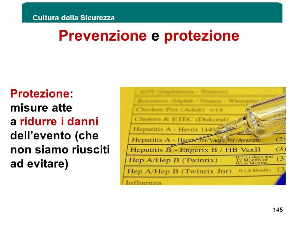 Prevenzione e protezione Protezione: misure atte a ridurre i danni dellevento (che non siamo riusciti ad evitare) Cultura della Sicurezza 145