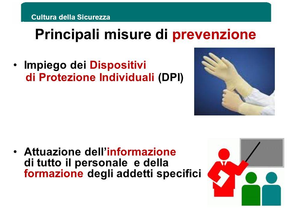 Principali misure di prevenzione Impiego dei Dispositivi di Protezione Individuali (DPI) Attuazione dellinformazione di tutto il personale e della for