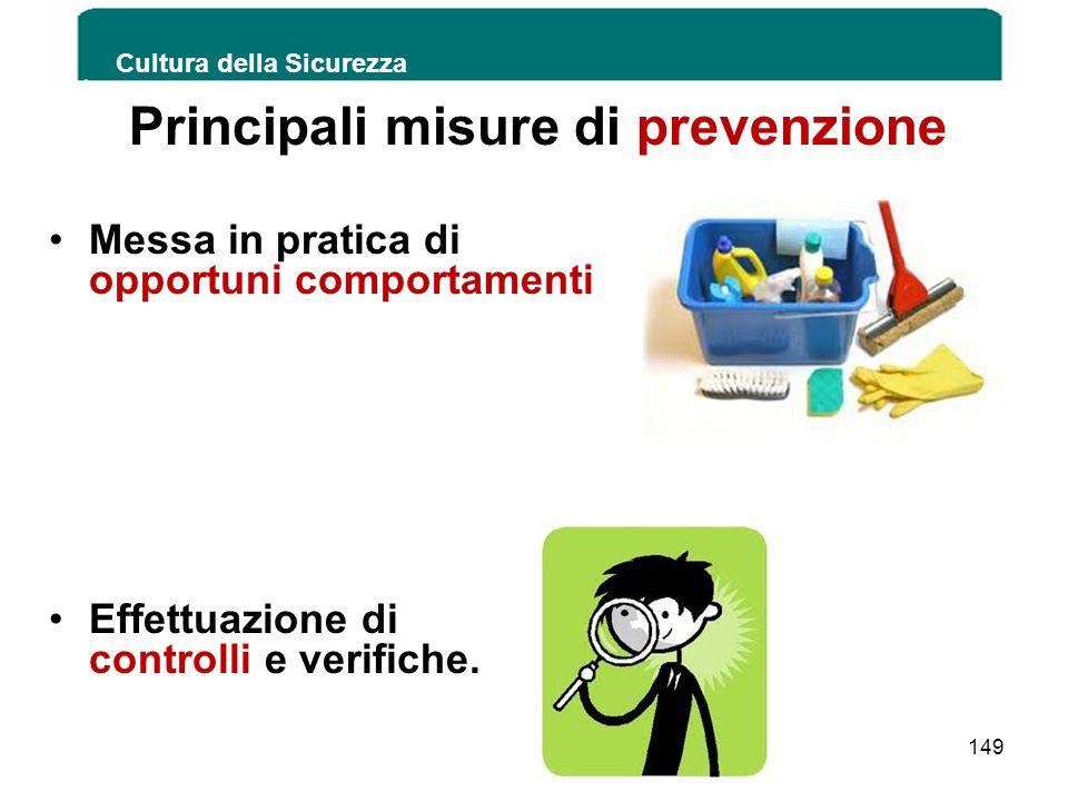 Principali misure di prevenzione Messa in pratica di opportuni comportamenti Effettuazione di controlli e verifiche. Cultura della Sicurezza 149