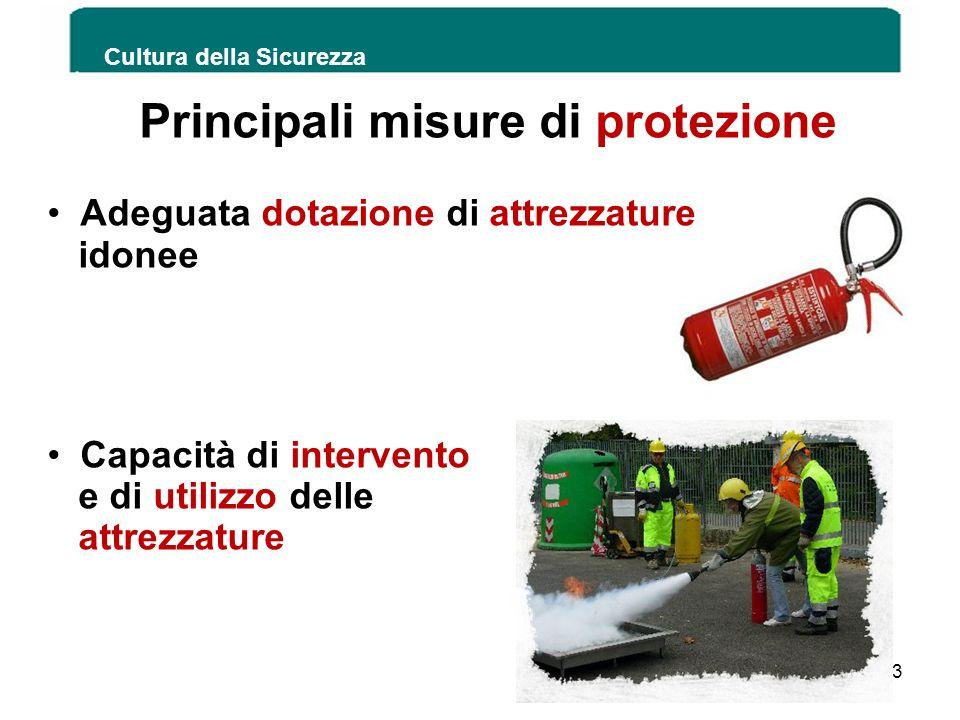 Cultura della Sicurezza 153 Principali misure di protezione Adeguata dotazione di attrezzature idonee Capacità di intervento e di utilizzo delle attre