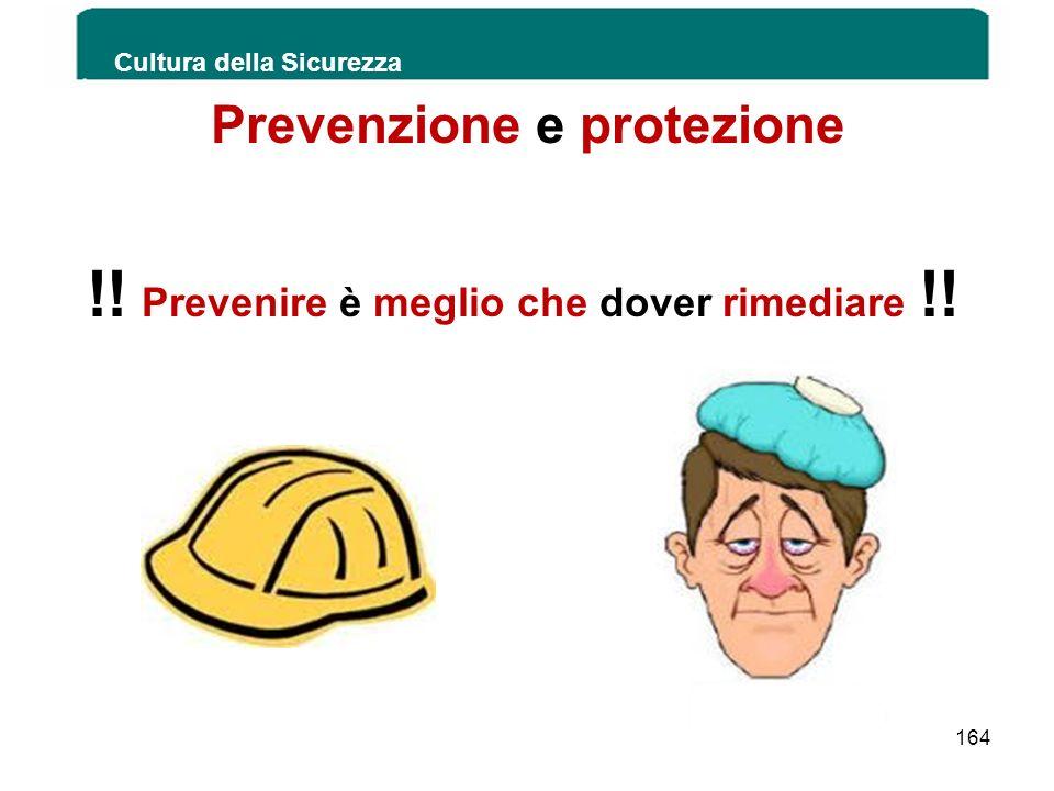 Prevenzione e protezione !! Prevenire è meglio che dover rimediare !! Cultura della Sicurezza 164
