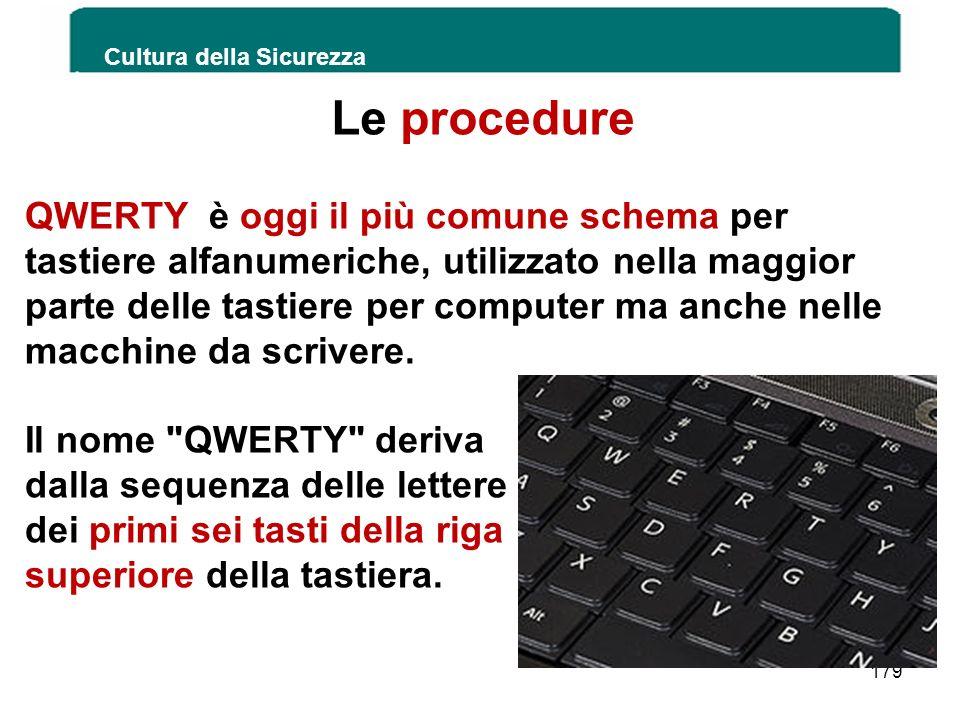Le procedure Cultura della Sicurezza 179 QWERTY è oggi il più comune schema per tastiere alfanumeriche, utilizzato nella maggior parte delle tastiere
