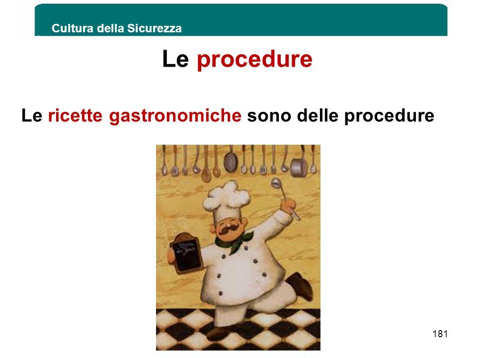 Le procedure Le ricette gastronomiche sono delle procedure Cultura della Sicurezza 181