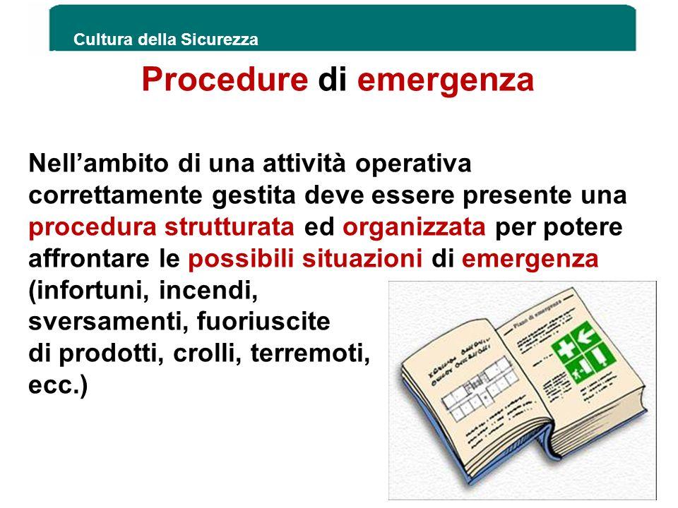 Procedure di emergenza Cultura della Sicurezza 189 Nellambito di una attività operativa correttamente gestita deve essere presente una procedura strut