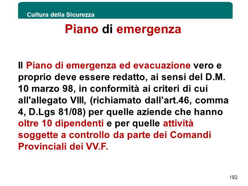 Piano di emergenza Cultura della Sicurezza 192 Il Piano di emergenza ed evacuazione vero e proprio deve essere redatto, ai sensi del D.M. 10 marzo 98,
