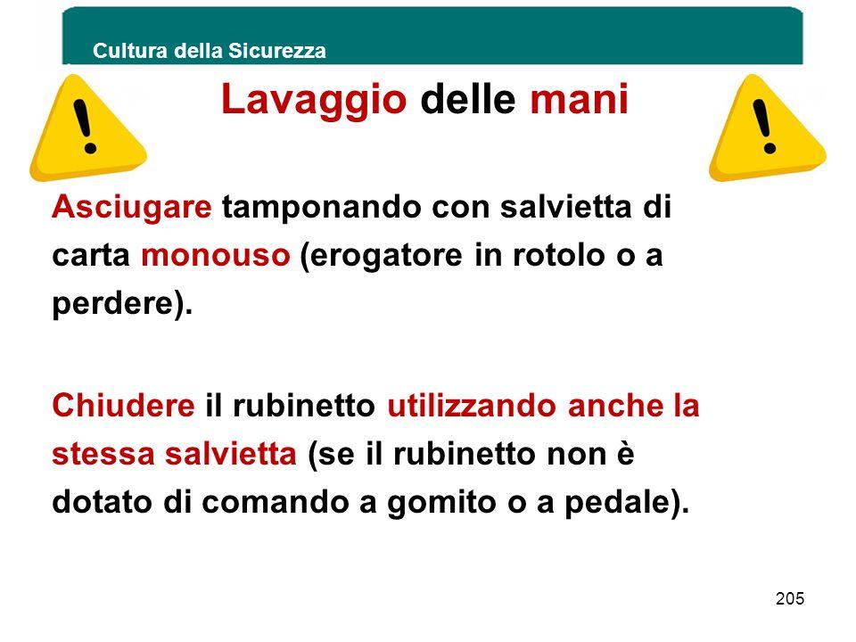 Cultura della Sicurezza 205 Lavaggio delle mani Asciugare tamponando con salvietta di carta monouso (erogatore in rotolo o a perdere). Chiudere il rub