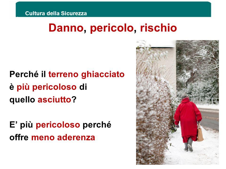 Danno, pericolo, rischio Perché il terreno ghiacciato è più pericoloso di quello asciutto? E più pericoloso perché offre meno aderenza Stress lavoro c