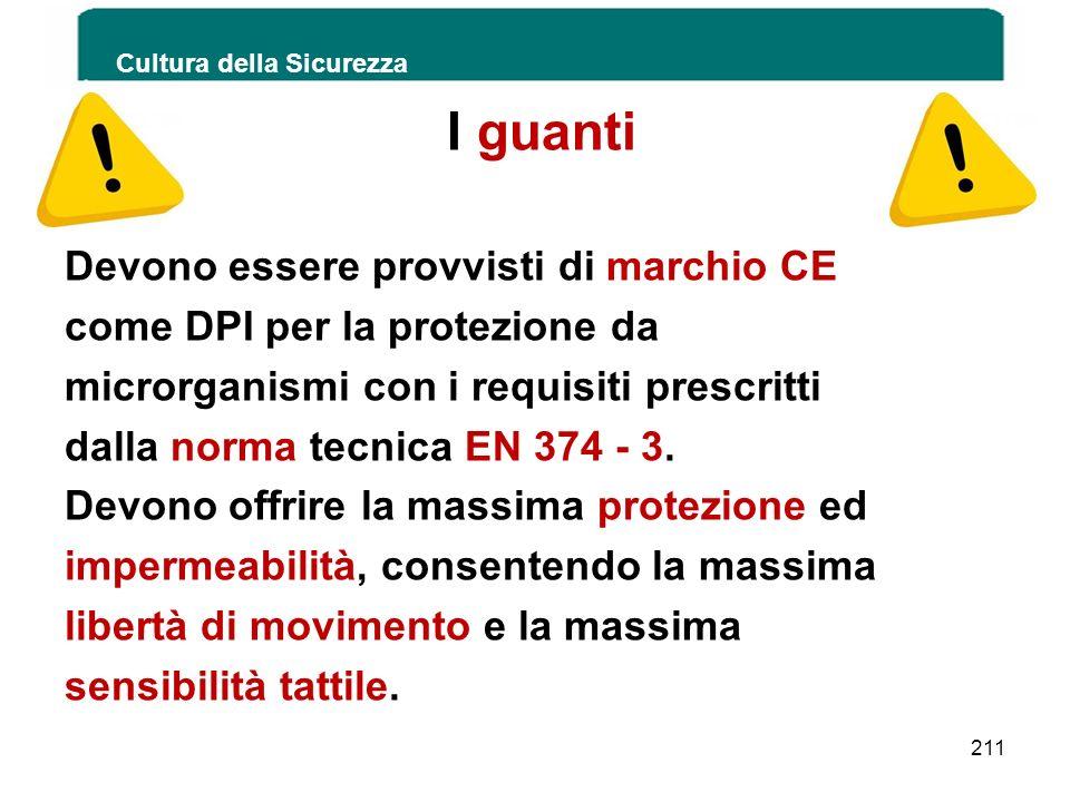 Cultura della Sicurezza 211 I guanti Devono essere provvisti di marchio CE come DPI per la protezione da microrganismi con i requisiti prescritti dall