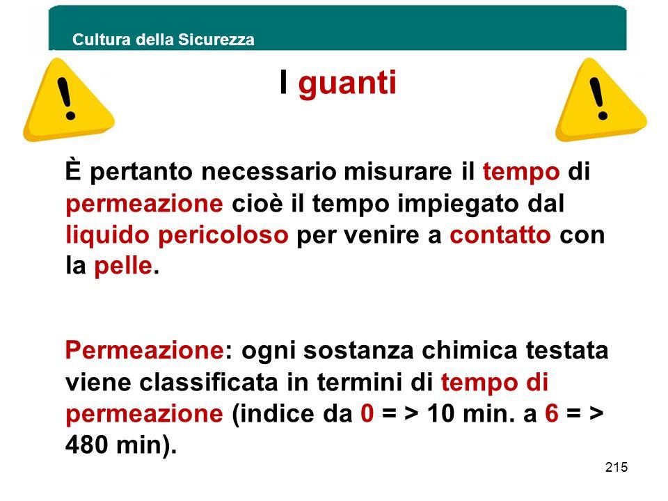 Cultura della Sicurezza 215 I guanti È pertanto necessario misurare il tempo di permeazione cioè il tempo impiegato dal liquido pericoloso per venire