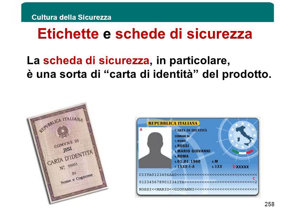 Etichette e schede di sicurezza La scheda di sicurezza, in particolare, è una sorta di carta di identità del prodotto. Cultura della Sicurezza 258