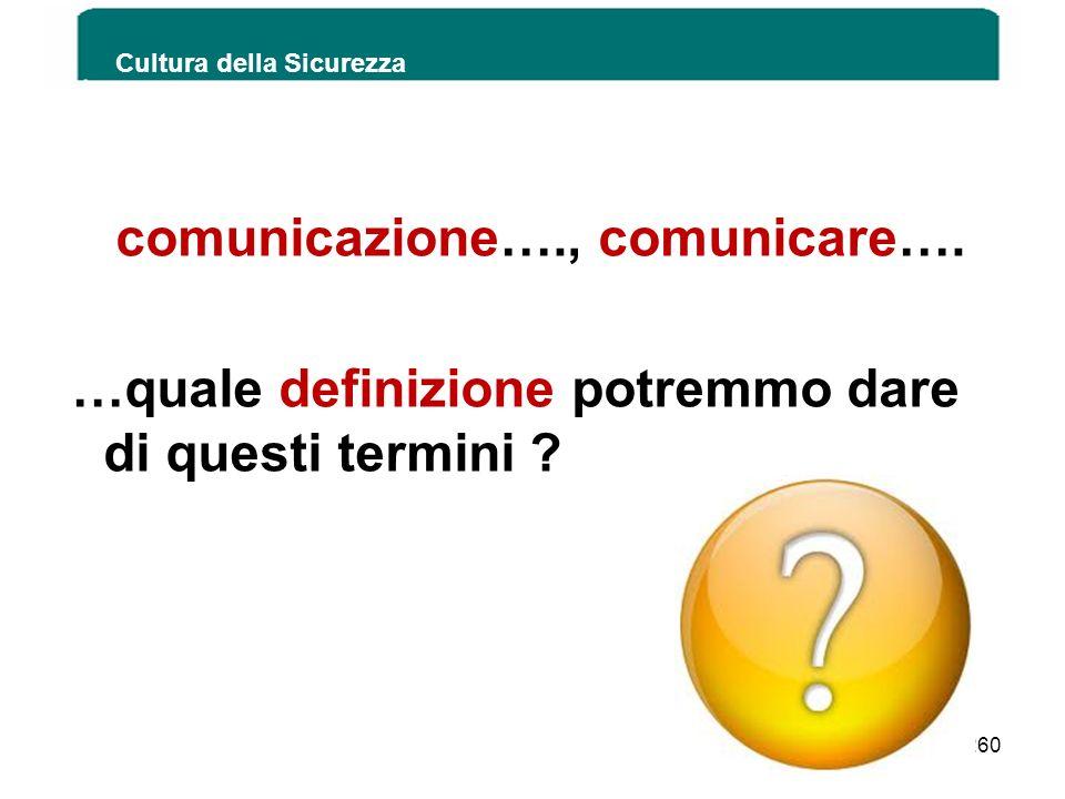 Cultura della Sicurezza 260 comunicazione…., comunicare…. …quale definizione potremmo dare di questi termini ?